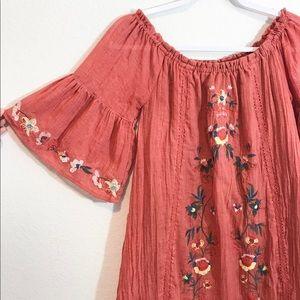 Umgee Off-Shoulder Bell Sleeve Embroidered Dress